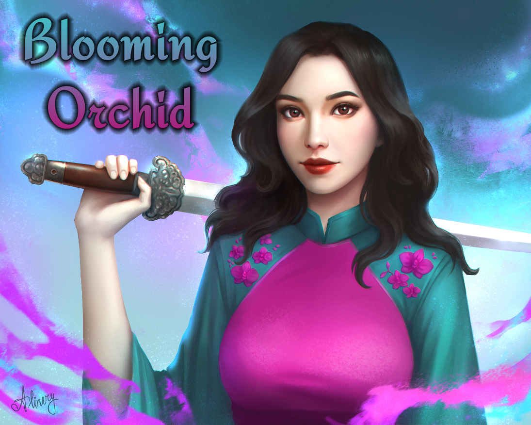 Blooming Orchid Captioned